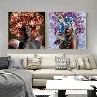 modern painting african girl with flowers above head print on canvas nordic poster wall art picture for living room home decor
