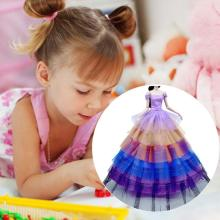 Purple Gradient Color Dress Accessories Baby Dress Gift Clothes Elegant Child Toys Dress Party Ornam