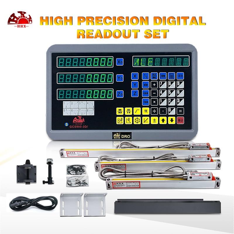 HXX 3 ejes de lectura Digital GCS900-3D/y 3 uds 5u balanzas lineales Dro completo DRO Kit para torno fresadora