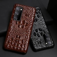 leather phone case for samsung galaxy s21 fe case for s20 plus cowhide cover for note 20 ultra crocodile head texture case