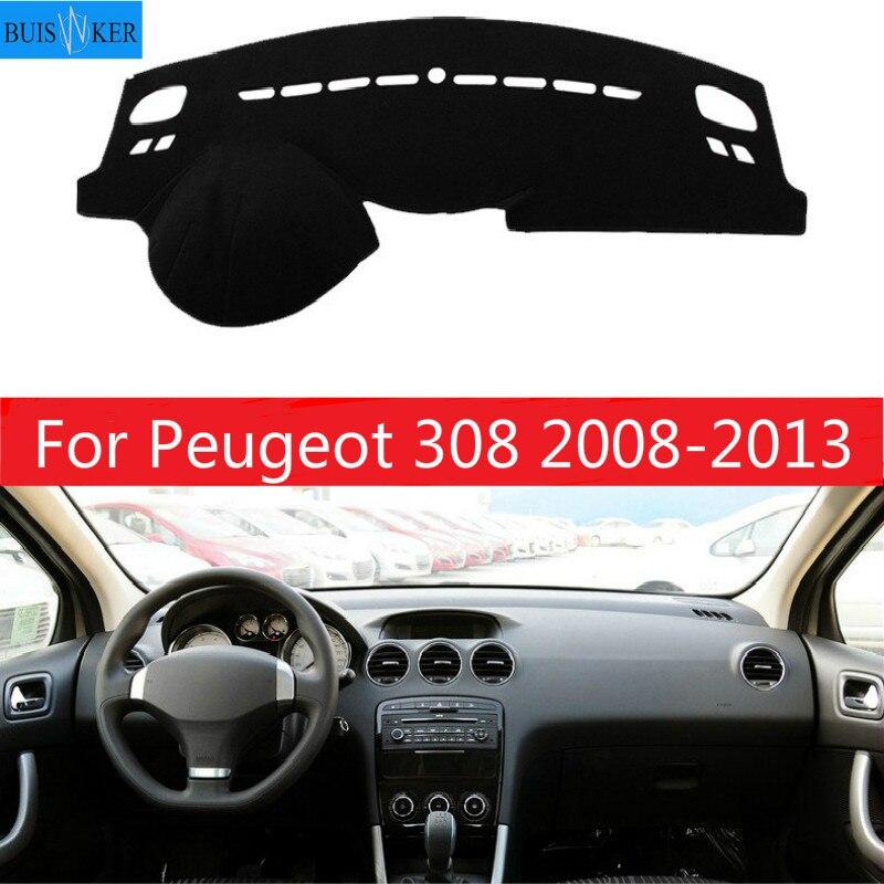 Cubierta de tablero de instrumentos de coche interior, alfombrilla para salpicadero de coche, alfombrilla para tablero de salpicadero parasol para Peugeot 308 2008 2009 2010 2011 2012 2013