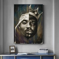 portrait of big and tupac canvas art paintings posters and prints 2pac modern wall art canvas pictures home decoration