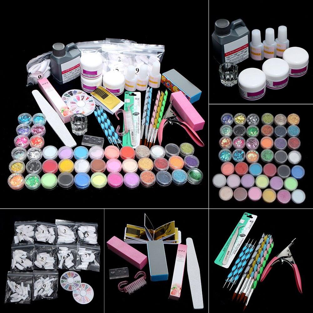 Acrylic Powder Glitter Nail Art Decoration Kit Nail Art Tools Kit Combo Set DIY Gel Nail Art Set HJL2019