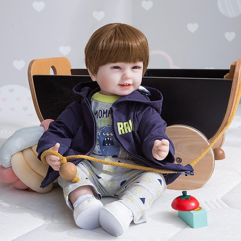 Smiley Four teeth doll boy bebe reborn 22 inch popular  silicone baby reborn toddler dolls gift real alive newborn dolls