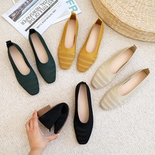 2021Women's Flat Shoes Ballet Breathable Square Head Knitted Mixed Color Soft Women Zapatos De Black
