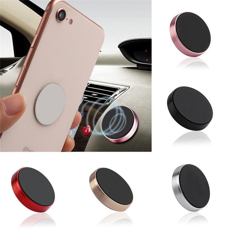 Mini soporte magnético de teléfono de coche teléfono móvil titular de placa redonda etiqueta engomada de pared Universal Escritorio de Metal imán del coche titular de montaje negro