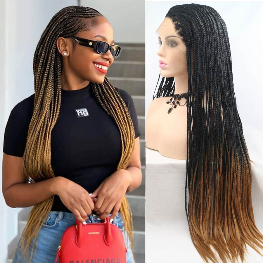 M&H Brown Ombre Color Baby Hair Box Braids Wigs Synthetic Braided Lace Front Wig Glueless Crochet Braiding Wigs For Black Women
