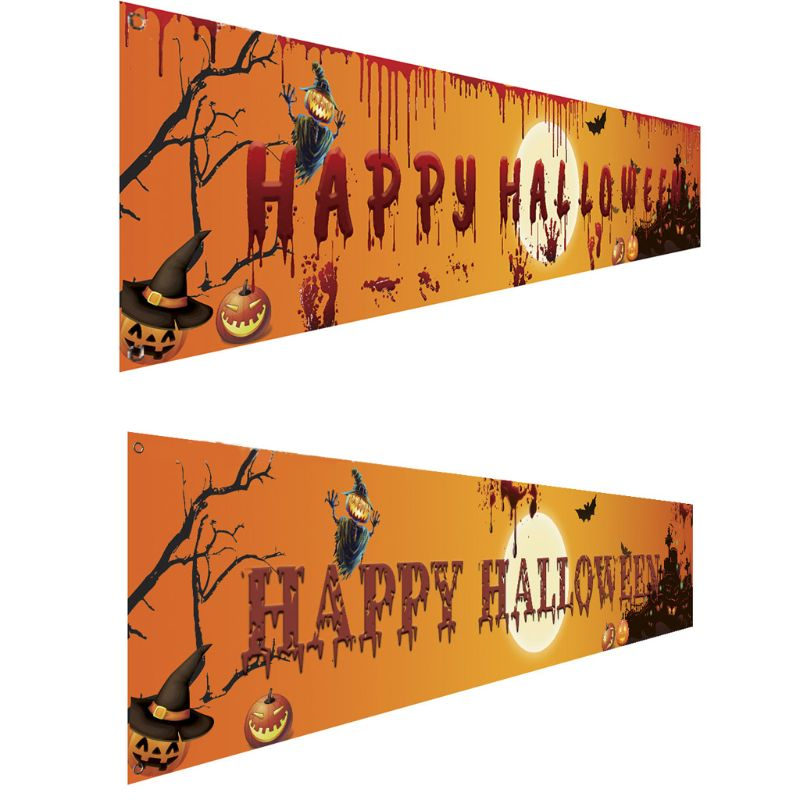 Banderín de Halloween al aire libre, banderines con tirador, decoración plegable para colgar, porche, señal de fondo, suministros para fiestas