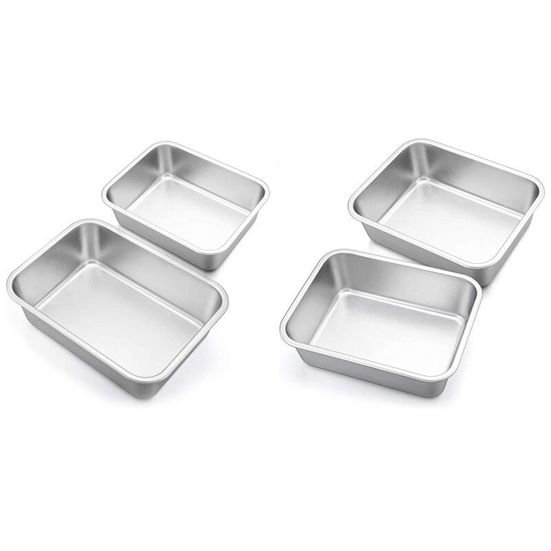 Deep Dish Lasagna Pan Set, 2-Pcs Stainless Steel Rectangular Casserole Pans, Oblong Metal Bakeware for Roasting