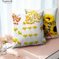 fuwatacchi maple leaves print pillow case autumn tree and flower photo cushion cover for home sofa chair decorative pillowcases
