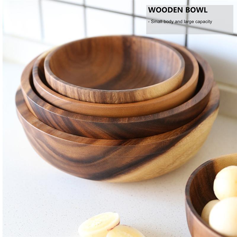 Cuenco de madera Natural para ensalada, decoración de frutas, práctico tazón de cocina para el hogar, vajilla, restaurante, cocina