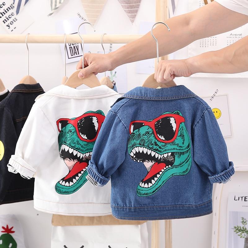 Autumn Baby Boys Denim Dinosuar Jackets Children's Cartoon Printed Coats Toddler Kids Fashion Outwear Jeans Clothing