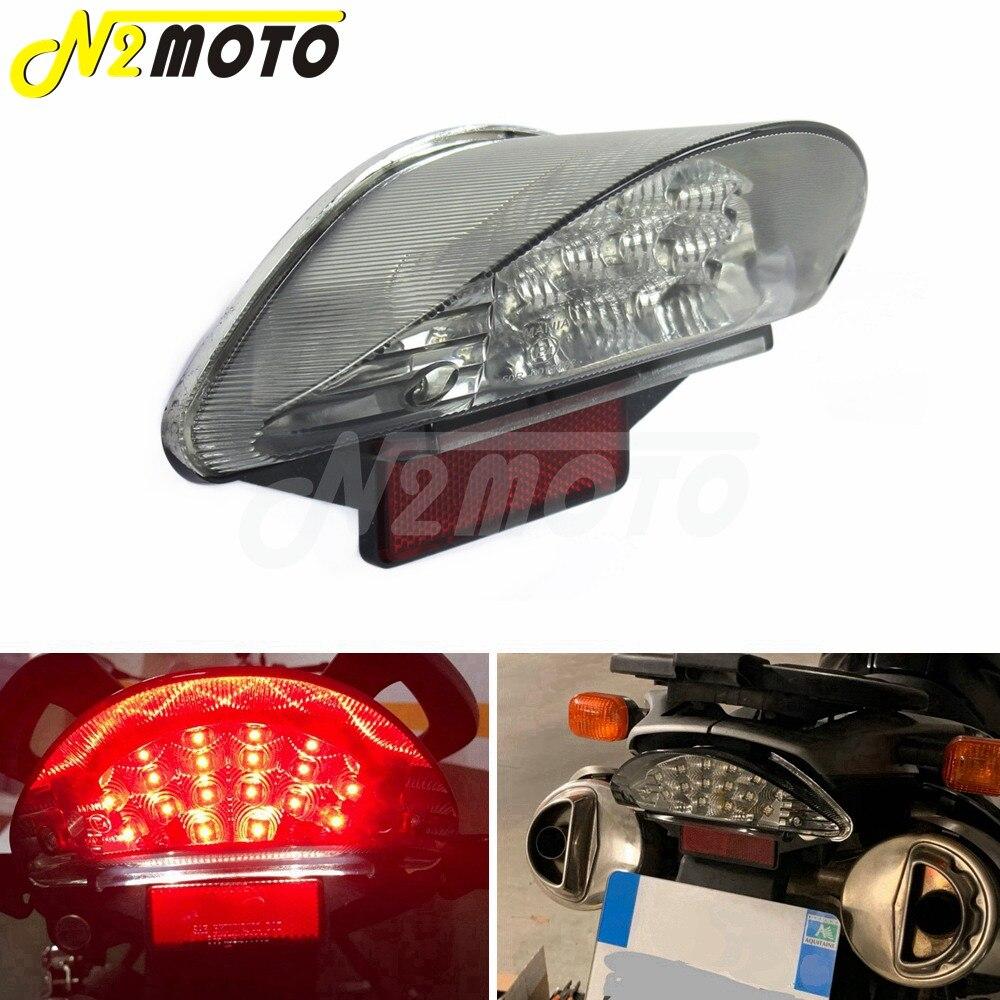 Para BMW F650 F650GS F650ST F800S F800ST R1200GS motocicletas 12v LED luz trasera lente transparente Reflector parada lámpara de freno