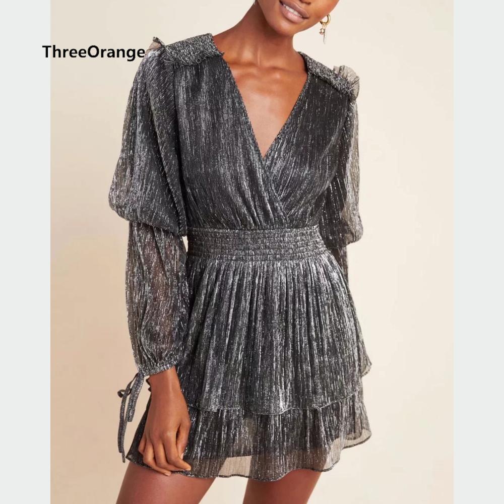 ZA women dress sliver grey shiny thread cross V-neck ruffled ladies slim elegant mini club evening party dress woman dresses