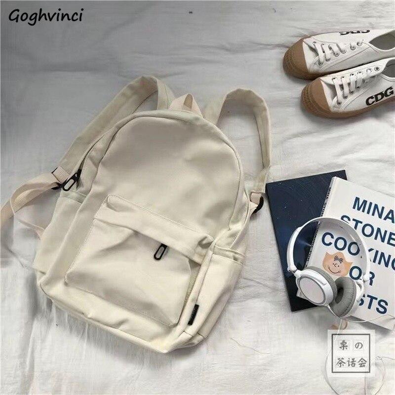 School Bags Solid Nylon Fabric Student Backpack Black White Girl College Bag Kawaii Trendy Korean St