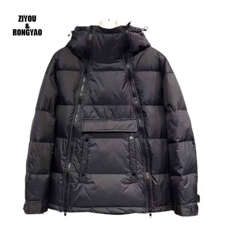 Winter men jacket new arrivals warm  clothes diagonal zipper winter personality side hood bread coat fashion style mens coats