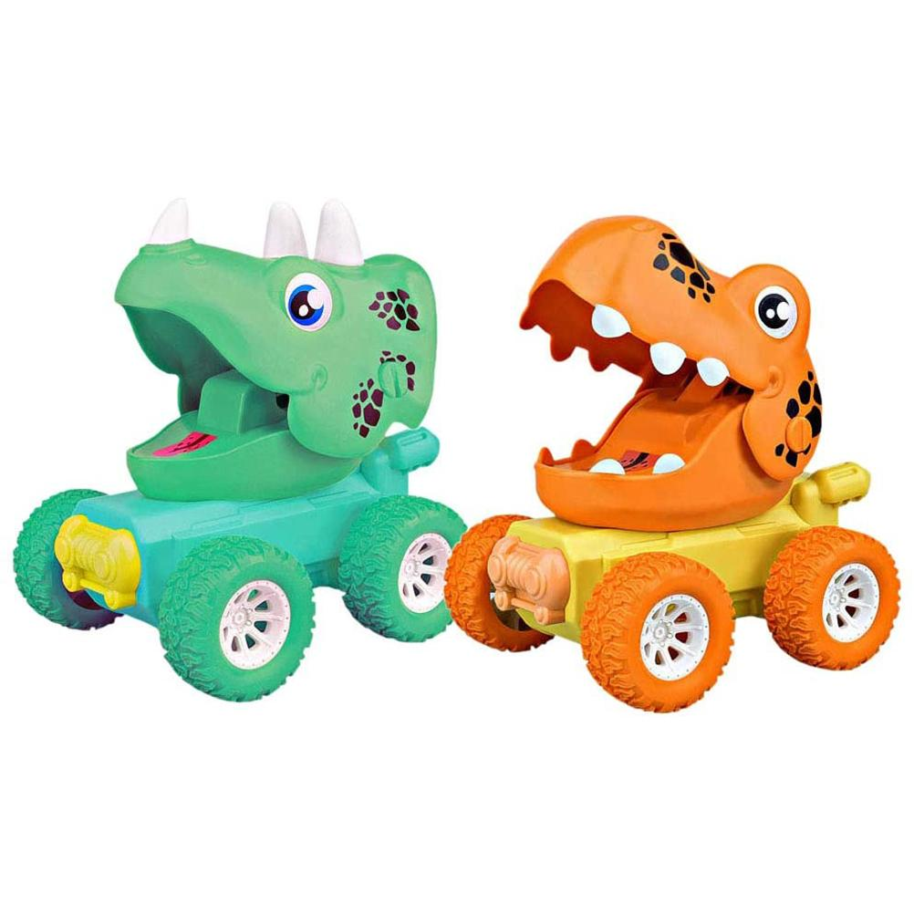 2Pcs Dinosaur Toy Child toy Press Power Toy Car Push Go Car Toys Gift for baby Boys Girls Funny car game toys Wheel Color Random