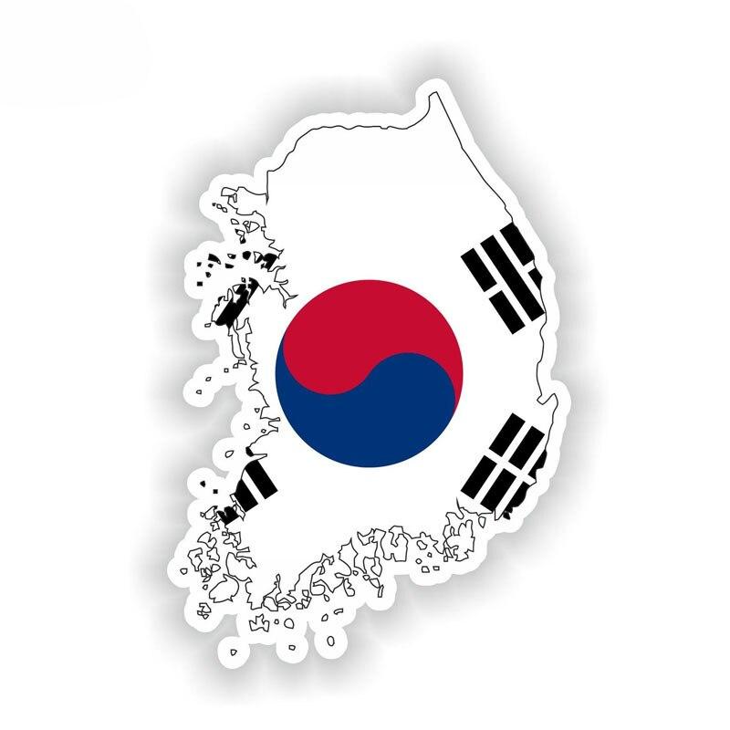 Interesante Mapa de Corea del Sur bandera pegatina de coche arte patrón calcomanía accesorios motocicleta PVC 15cm X 10cm