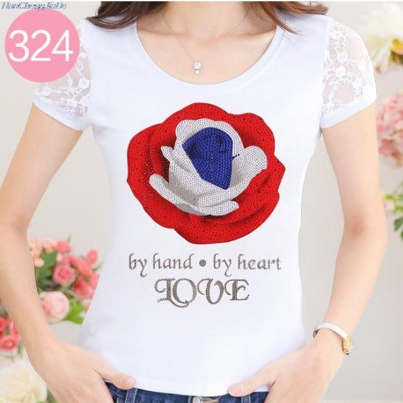 Vrouw Xxxl Zomer Diamanten Tshirt Vrouwen Kant Rhinestone Lady T-shirt Camisetas Mujer Printing Womens T-shirts Witte Kleren