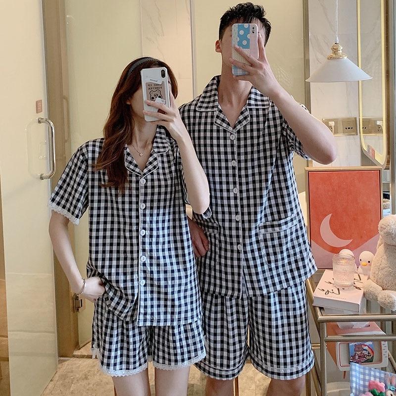 2021 New Couple Pajamas Women's Summer Short Sleeve Pure Cotton Plaid Two-piece Set Men's Simple Hom