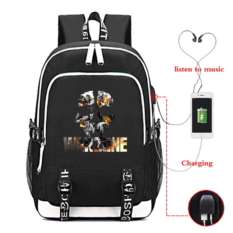 Modern wars-حقيبة ظهر مع شحن USB ، طباعة PUBG ، للنساء والرجال ، حقائب مدرسية ، Call of Duty ، حقائب سفر ، كمبيوتر محمول للطلاب