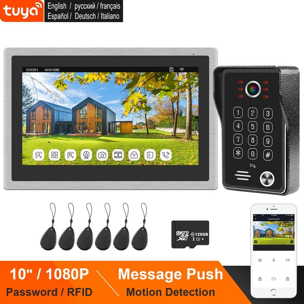 HomeFong TUYA WIFI Video Door Phone for Villa 10 Inch Touch Screen Monitor Keypad Call Panel Doorbell 1080P Password RFID Unlock