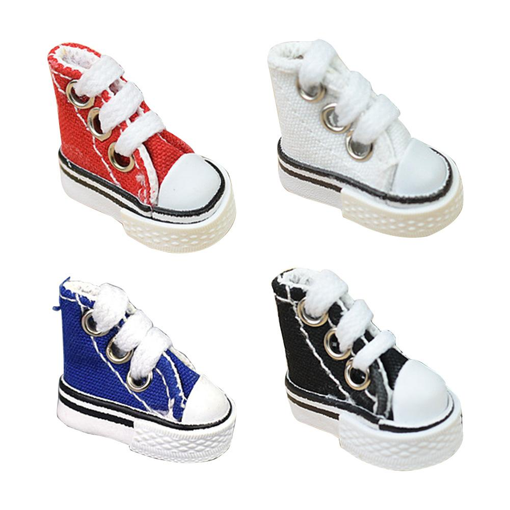 1Pair 3.5cm Doll Shoes Denim Sneakers For Dolls Fashion Denim Canvas Mini Toy Shoes For Handmade Dol