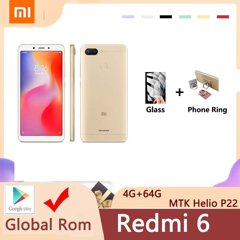 Xiaomi-هاتف Redmi 6 الذكي ، 4GB ، 64GB ، google gleplay ، إطار عالمي