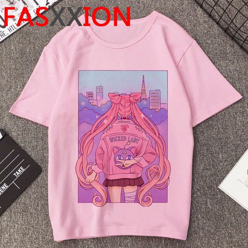 Camiseta Sailor Moon para mujer, camiseta con dibujos divertidos Kawaii de verano, camisetas con gráfico de gato bonito, camiseta de talla grande Unisex estilo coreano, camiseta femenina