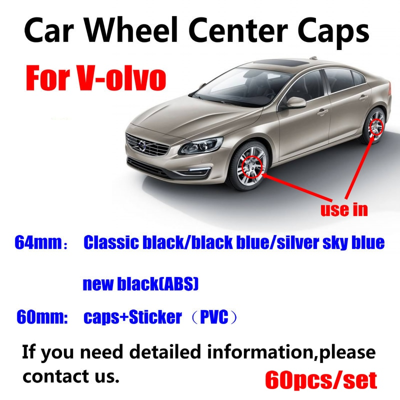 60 uds 64mm 60mm llanta de rueda de coche Hub centro de la tapa cubre para volvo XC90 XC70 XC60 V40 V50 V60 V70 V90 S50 S60 S70 S90 3546923