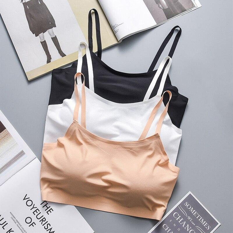 Camisola de seda de hielo Bralette sin costuras Color sólido Simple Crop Tops de una sola pieza ropa interior femenina transpirable Lencería suave