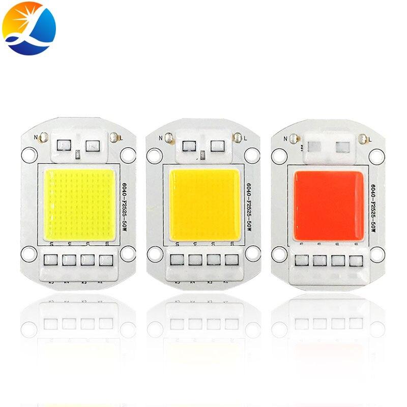 Chip de luz LED COB de espectro completo sin conductor inteligente IC AC 110V 220V para reflectores lámpara de cultivo de plantas 20W 30W 50W bombilla LED 60x40mm