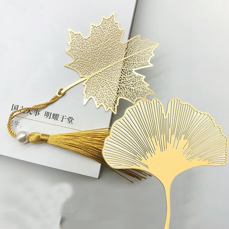 Bookmarks Fine Vein Tasseled Vein Leaf Use High-value Brass Literature Art Students Metal Geometric Sycamore Leaf Gifts