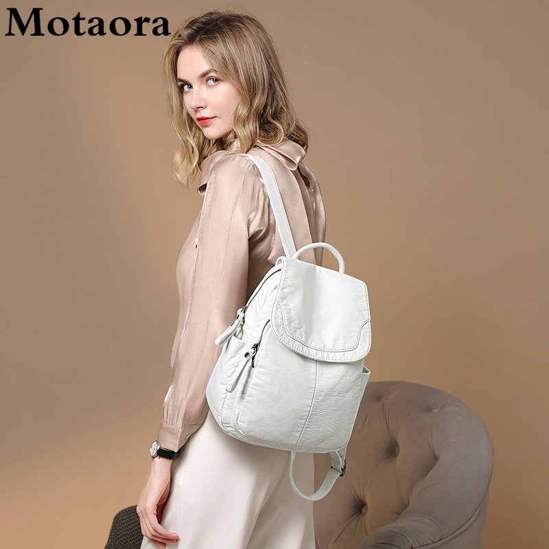 Motaora حقيبة ظهر نسائية بيضاء اللون من الجلد المغسول حقيبة ظهر نسائية صغيرة حقائب مدرسية للمراهقات الكل مباراة حقيبة سفر غير رسمية