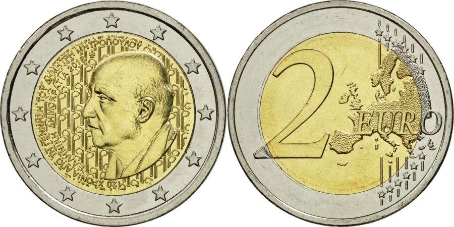 Grécia 2016 dimitri mitropos 2 euro moeda comemorativa bicolor moedas originais reais verdadeiro euro