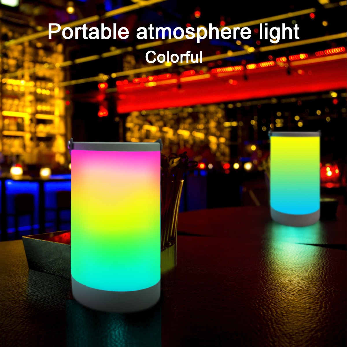 LED Portable Atmosphere Lamp Colorful Battery Warm White Lamp Camping for Cafe Restaurant Exquisite Ornaments