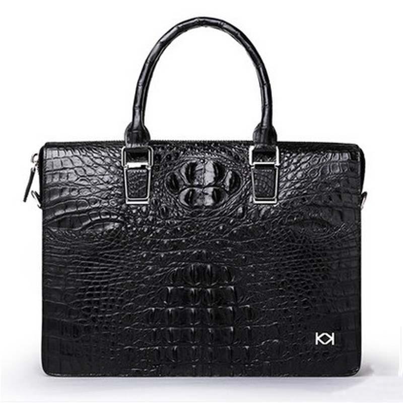 Kadiler new crocodile handbag leather men handbags across business male briefcase leisure single shoulder bag large capacity