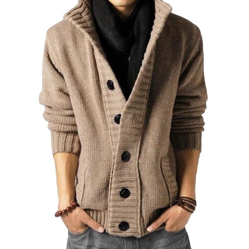 Кардиган мужской свитер модный вязаный свитер с воротником-стойкой мужская одежда с длинным рукавом однотонный кардиган на пуговицах паль...