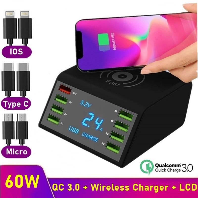 Tongdaytech متعدد 8 ميناء Lcd USB تشى شاحن لاسلكي آيفون X 8 Plus تهمة سريعة 3.0 شاحن سريع لسامسونج S10 S9 شاومي