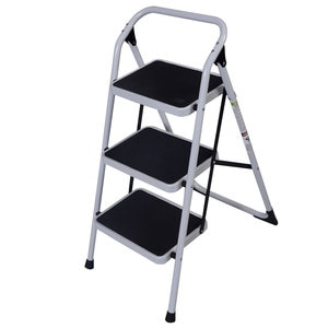 Home Use 3-Step Short Handrail Iron Ladder Black White Short Armrest Household Iron Ladder Folding Step Step Ladder