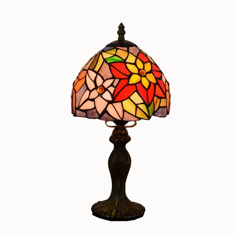 Diámetro 20cm alto 36cm Tiffany vitral crisantemo bar comedor dormitorio cabecera campo pequeña lámpara de mesa