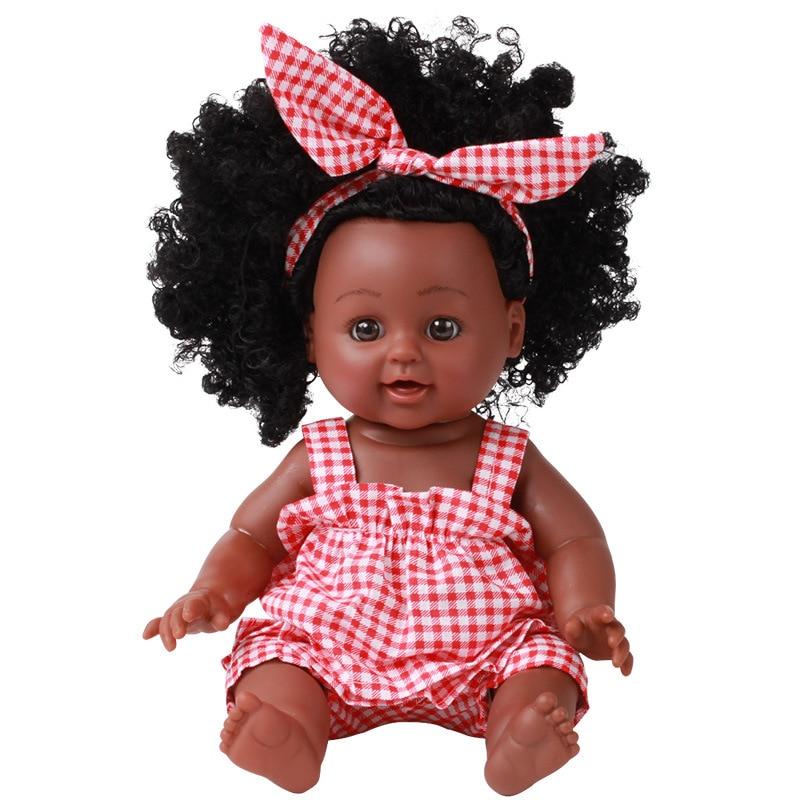 Черная кукла-реборн 30 см, силиконовая виниловая Реалистичная кукла для новорожденных, Реалистичная кукла для малышей, игрушки для дня рожде...