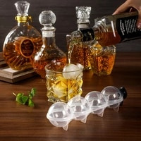 1pc whiskey ice ball diy model silicone ice maker ice mold round plastic ice ball mold four hole mold