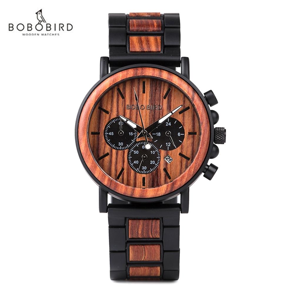 Relógio de Pulso Relógios de Madeira Relógio de Pulso de Quartzo Caixa de Madeira Bobo Pássaro Homem Agulha Luminosa Relógios 2021 Moderno de Quartzo Presente Personalizado
