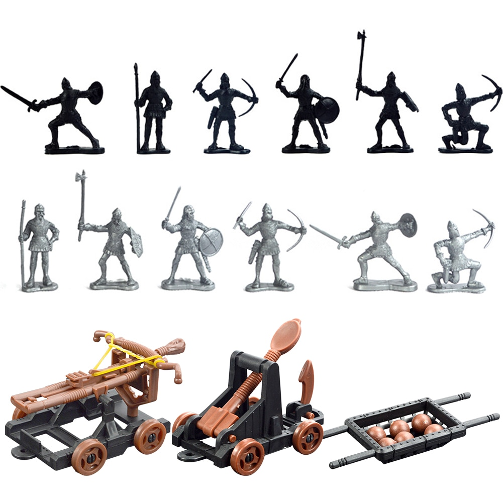 14 pçs de plástico cavaleiros medievais besta para crianças presente adulto militar do exército modelo ação brinquedo soldado figura conjunto diy jogar em casa