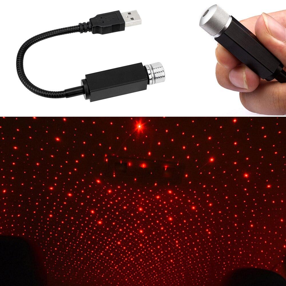 Techo del coche con led proyector estrella luz de noche Mini atmósfera lámpara de galaxia romántica USB Lámpara decorativa múltiples luces ajustables