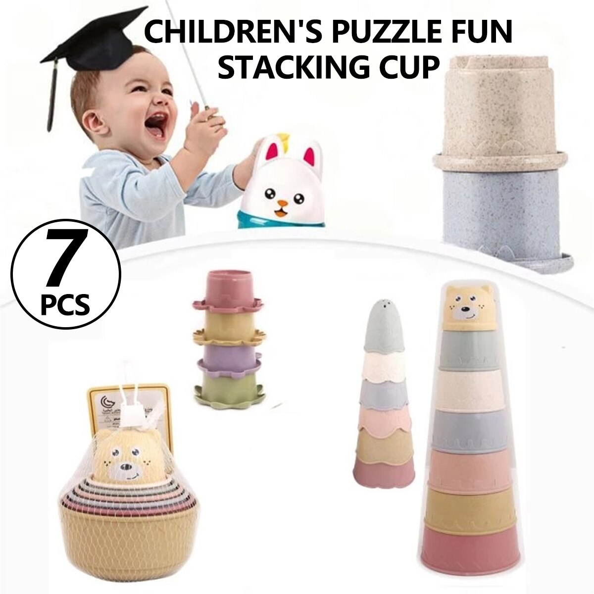 7 шт./компл. стаканы, стаканы, штабелируемые чашки, пляжные игрушки, детская штабелирующая чашка, игрушки для взаимодействия родителей и дете...