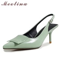 meotina women slingbacks shoes natural genuine leather high heel pumps shoes pointed toe shallow thin heel ladies footwear 40