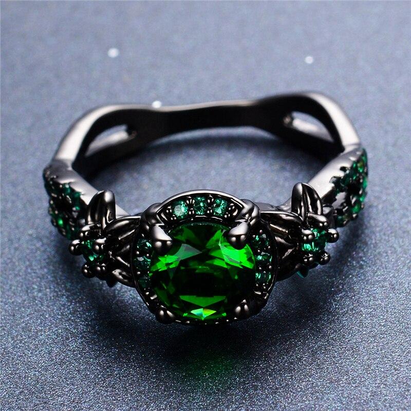 Anel de noivado da flor do amor da promessa do ouro do preto 14kt do encanto 14kt do anel de pedra redondo verde do sexo feminino de luxo
