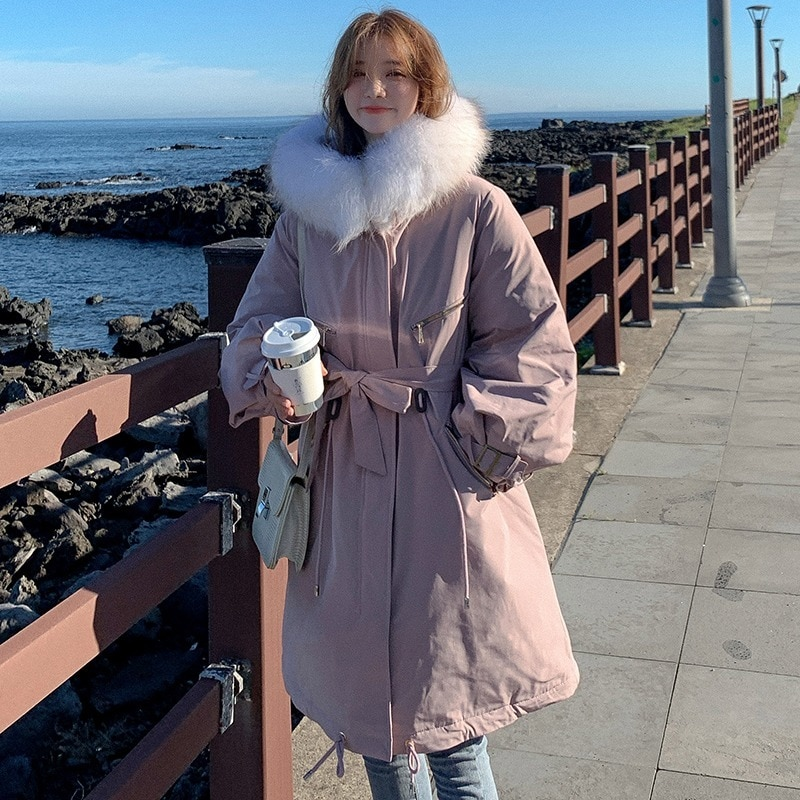 Fashion Thick Mid-length Parka Coat Jacket Ladies Thick Hooded Winter Warm Space Cotton Jacket Ladies Solid Color Lace Zipper